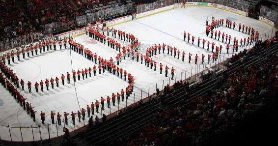 Ohio State Buckeyes Fall Athletic band performs Script Ohio on the ice between periods during the Lake Superior State and Ohio State NCAA Men's Hockey game at Value City Arena, December 2, 2011. Ohio State won the contest 5-2. (Dispatch photo by Neal C. Lauron)