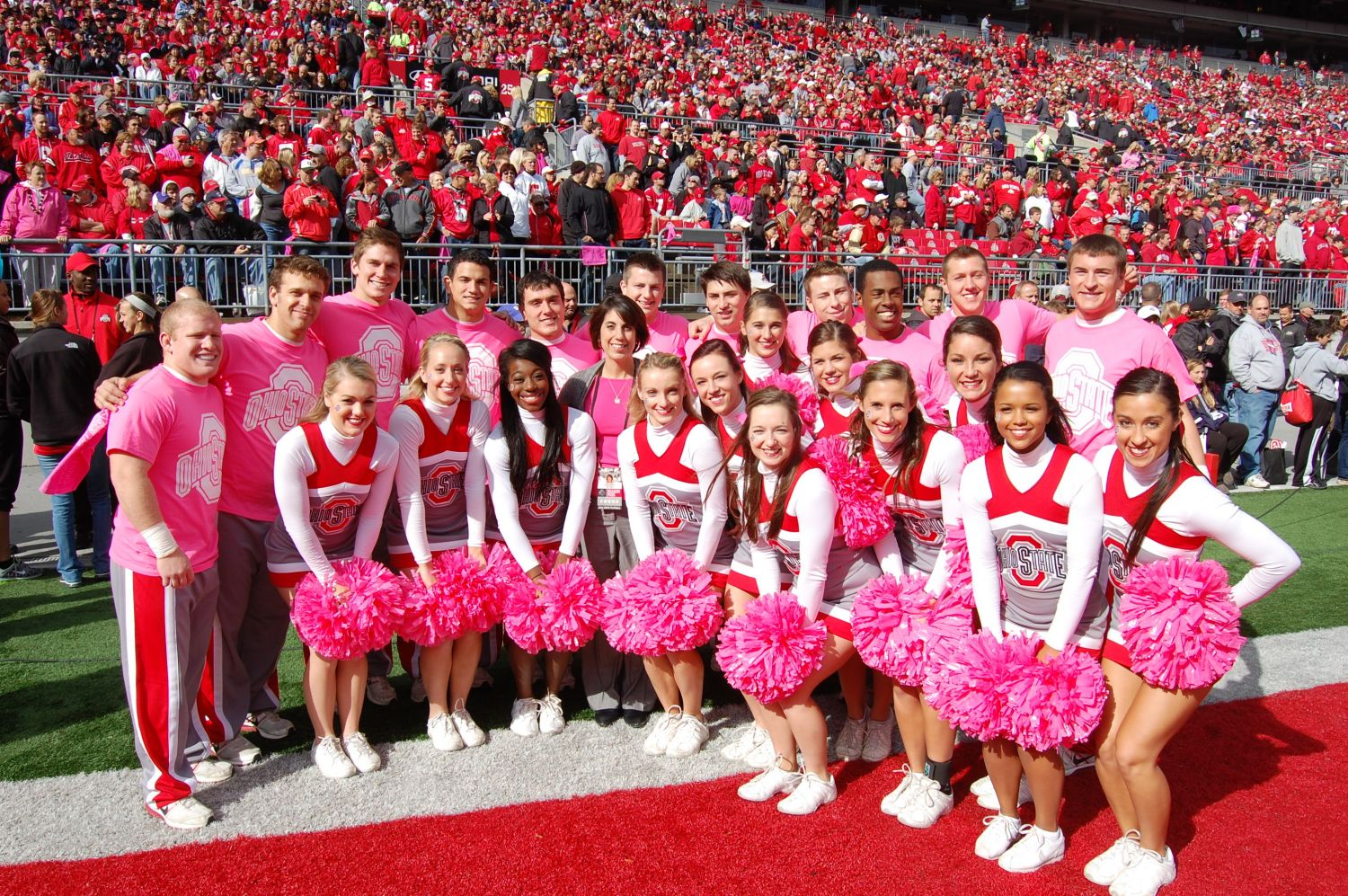 Breast Cancer Awareness - The Ohio State Cheerleaders getting into the pink spirit during the October 20, 2012 game vs. Purdue.