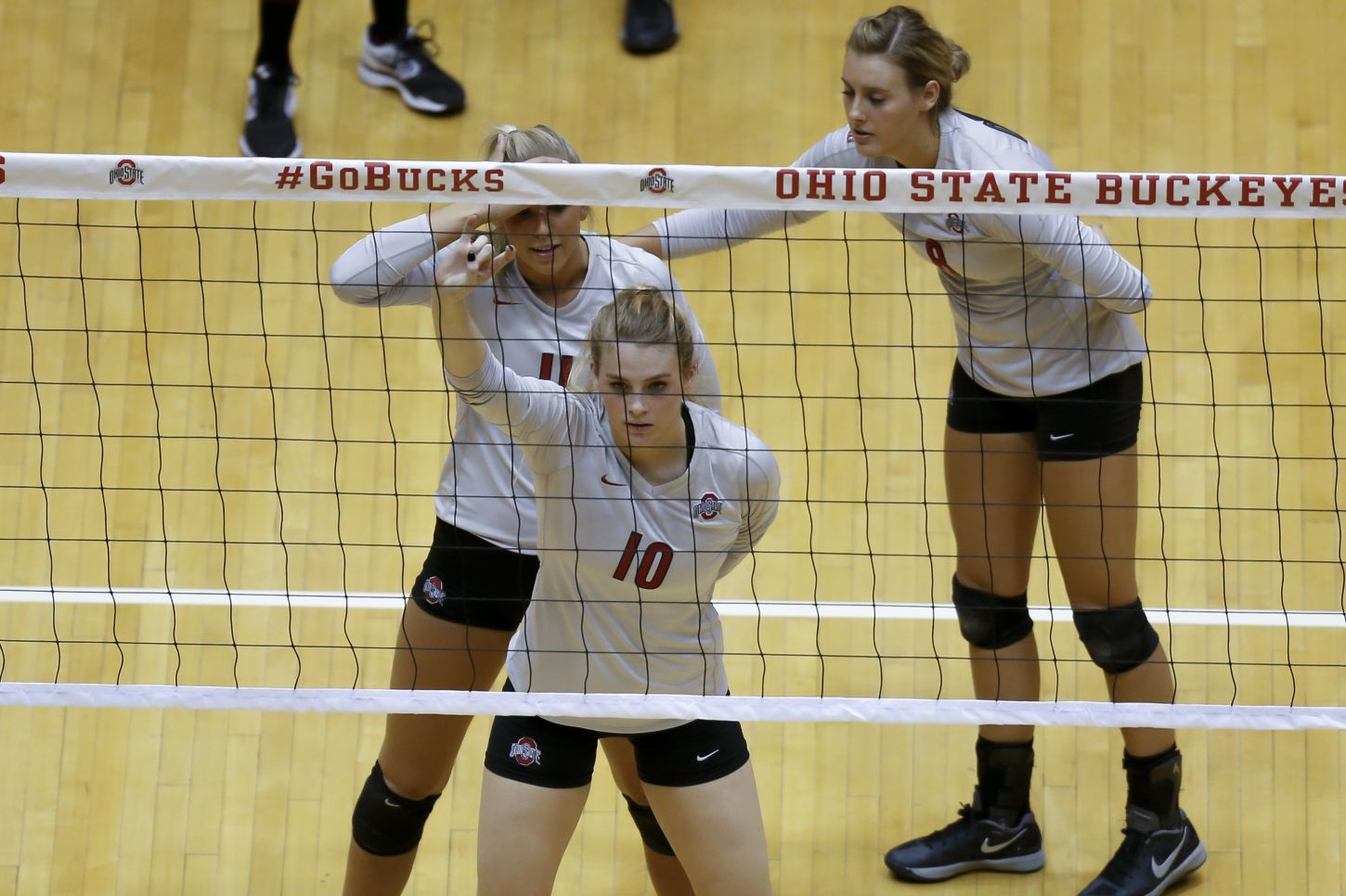 Ohio State vs Michigan Women's Volleyball at St. John Arena on Friday, September 27, 2013. OSU defeated Michigan 3 sets to 1. Kaitlyn Leary (11), Taylor Sandbothe (10), Taylor Sherwin (8)