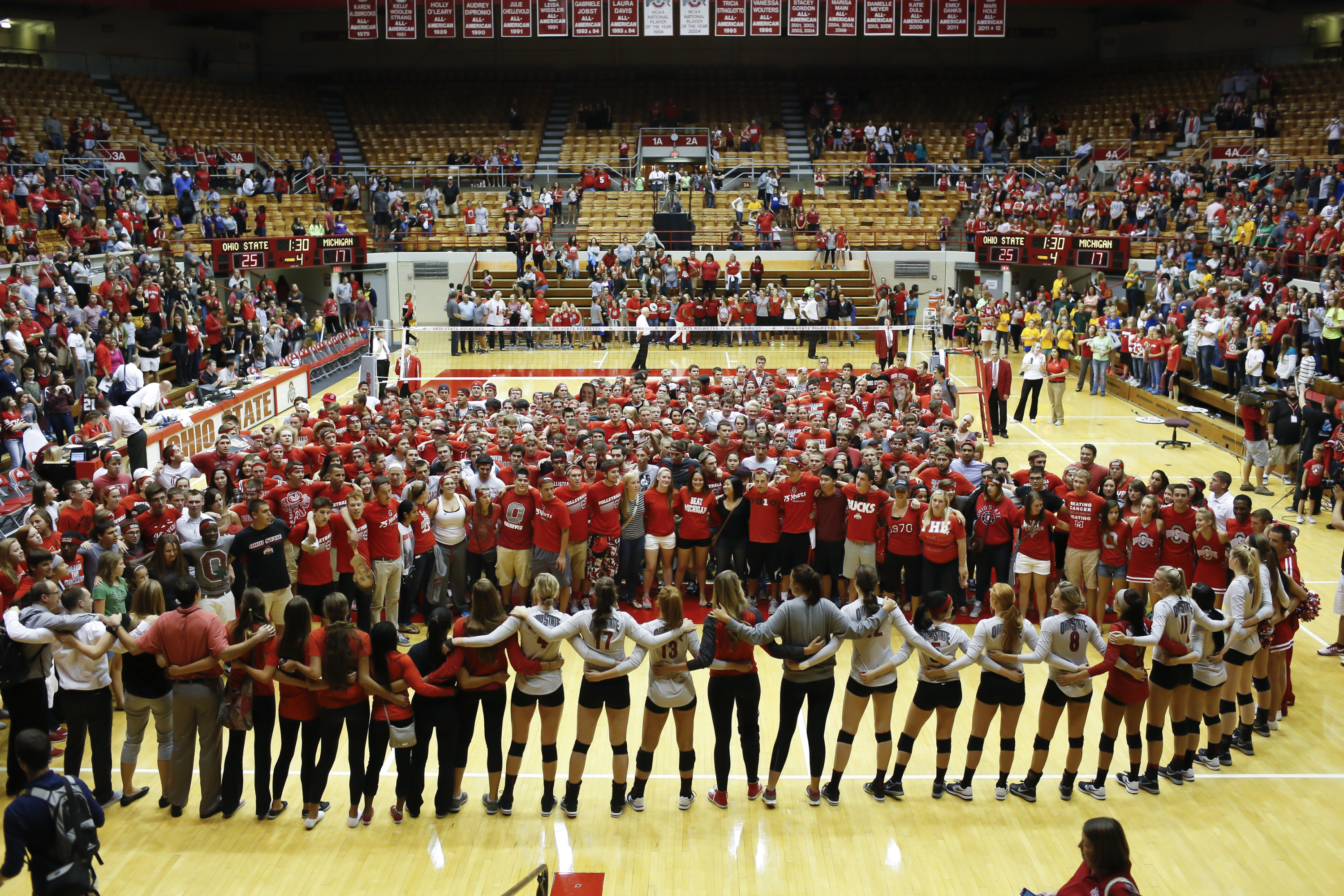 Ohio State vs Michigan Women's Volleyball at St. John Arena on Friday, September 27, 2013. OSU defeated Michigan 3 sets to 1.Team Celebration