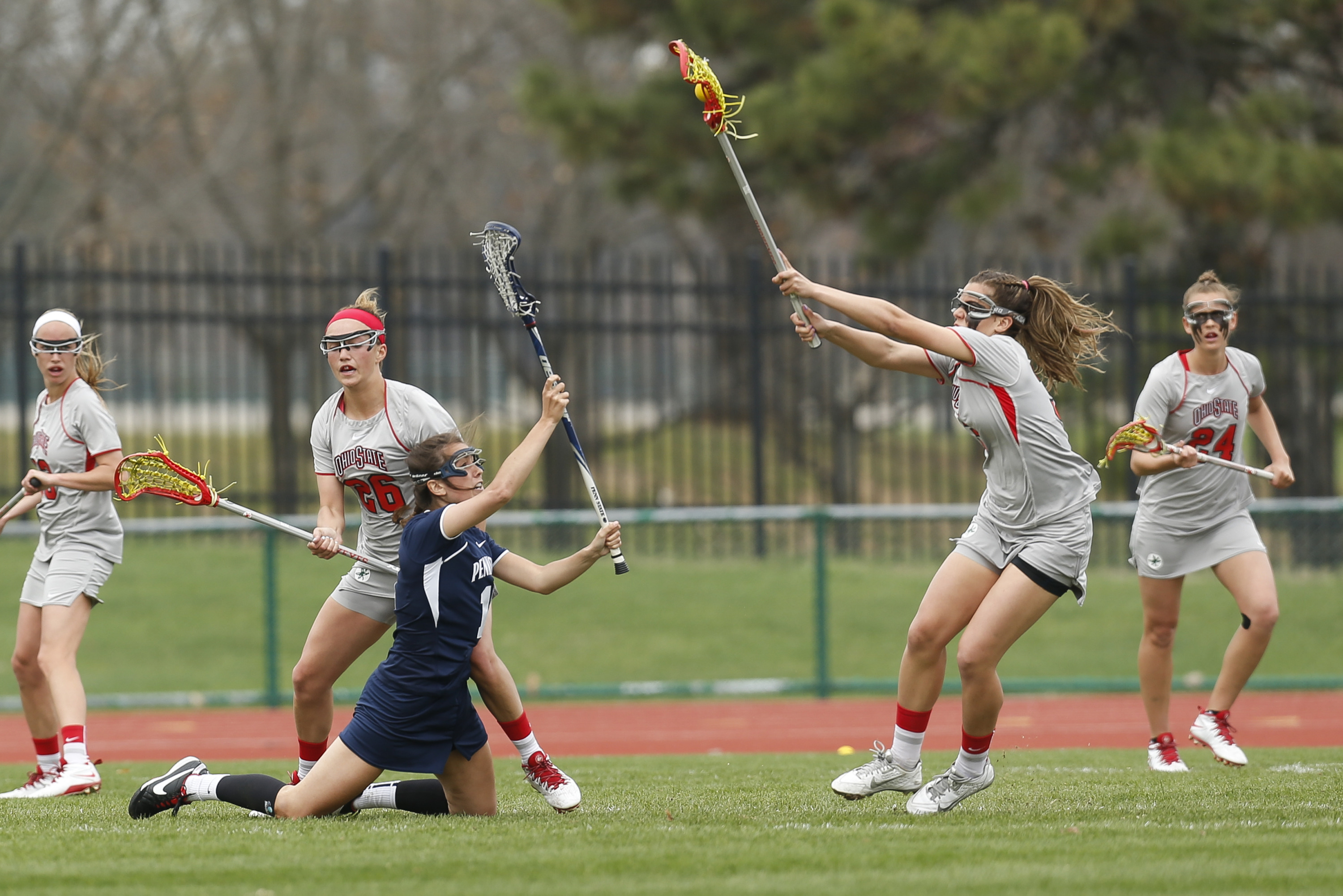 Ohio State plays Penn State in women's lacrosse at Jesse Owens Memorial Stadium in Columbus, Ohio on Sunday, April 13, 2014.