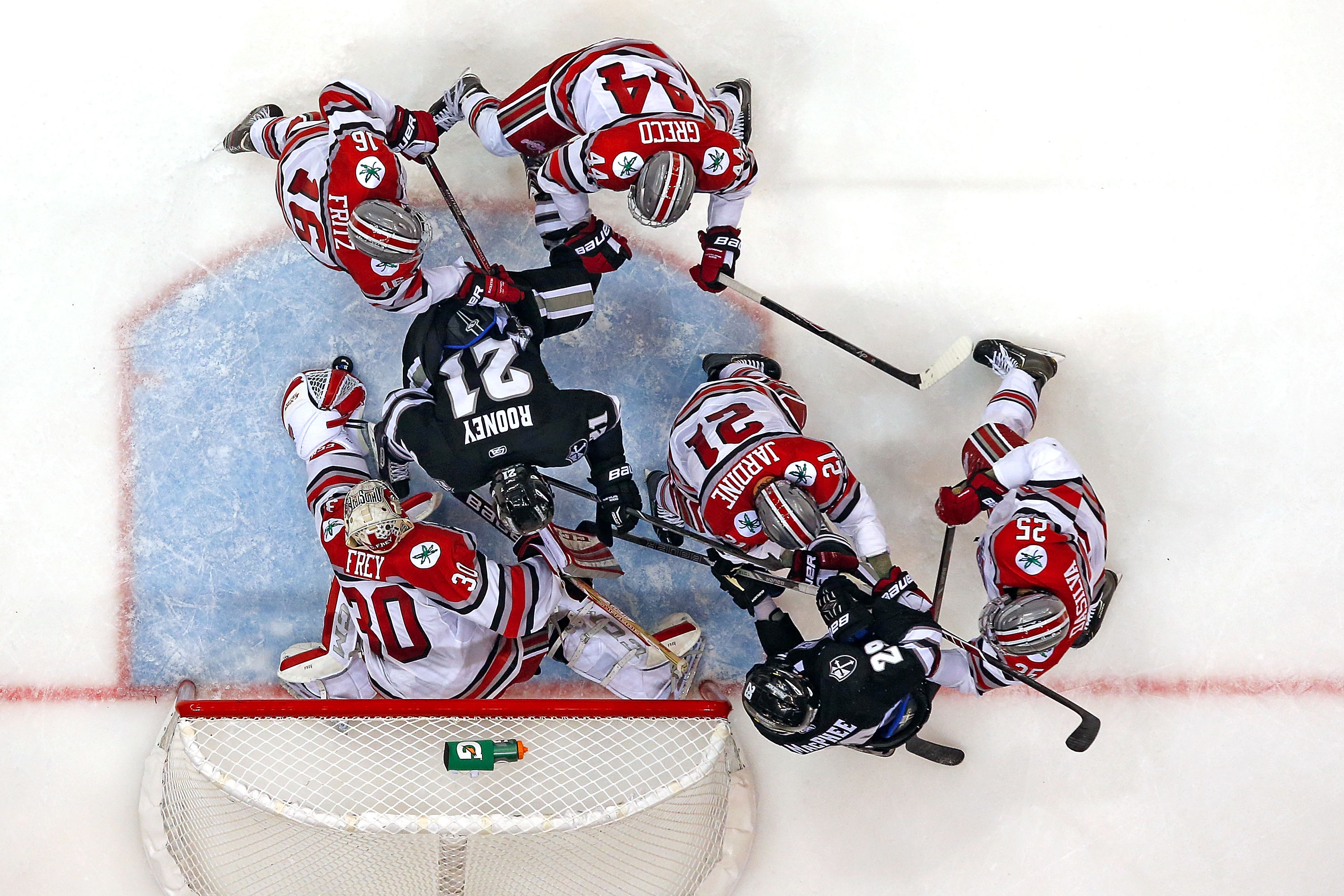 The Ohio State men's hockey team takes on Providence at the Schottenstien Center on Friday, October 10, 2014. Ohio State defeated Providence 5-4 in overtime.