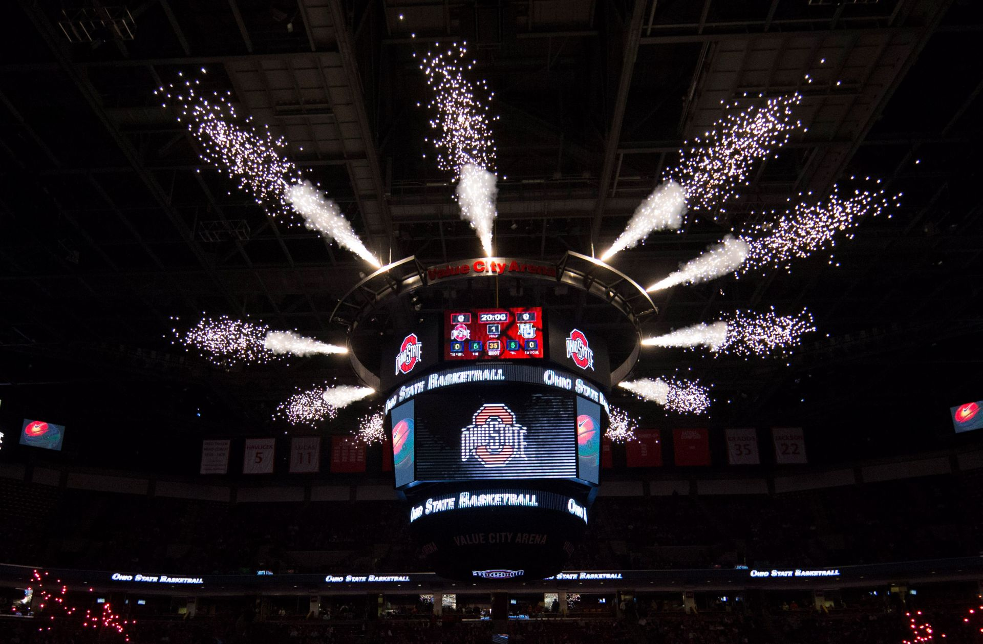 Nov 18, 2014; Columbus, OH, USA; A general view of fireworks being shot from the Ohio State Buckeyes scoreboard before the game against the Marquette Golden Eagles at Value City Arena. Ohio State won the game 74-63. Mandatory Credit: Greg Bartram-USA TODAY Sports