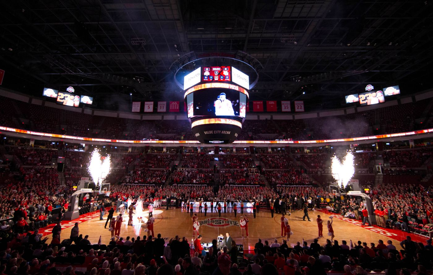 Nov 18, 2014; Columbus, OH, USA; A general view of fireworks being shot during the Ohio State Buckeyes introductions before the game against the Marquette Golden Eagles at Value City Arena. Ohio State won the game 74-63. Mandatory Credit: Greg Bartram-USA TODAY Sports