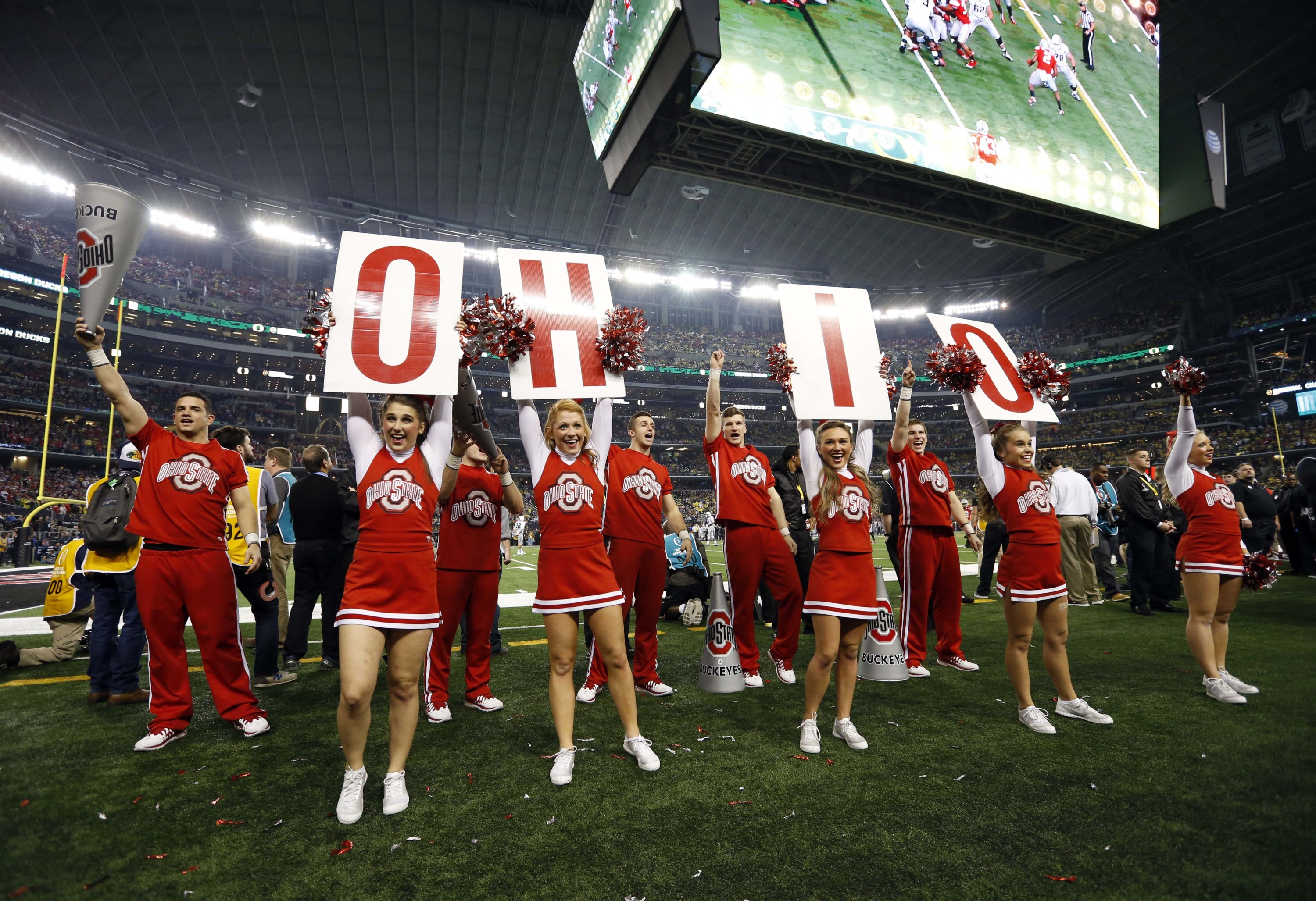 Jan 12, 2015; Arlington, TX, USA; Ohio State Buckeyes cheerleaders perform in the 2015 CFP National Championship Game against the Oregon Ducks at AT&T Stadium. Mandatory Credit: Matthew Emmons-USA TODAY Sports