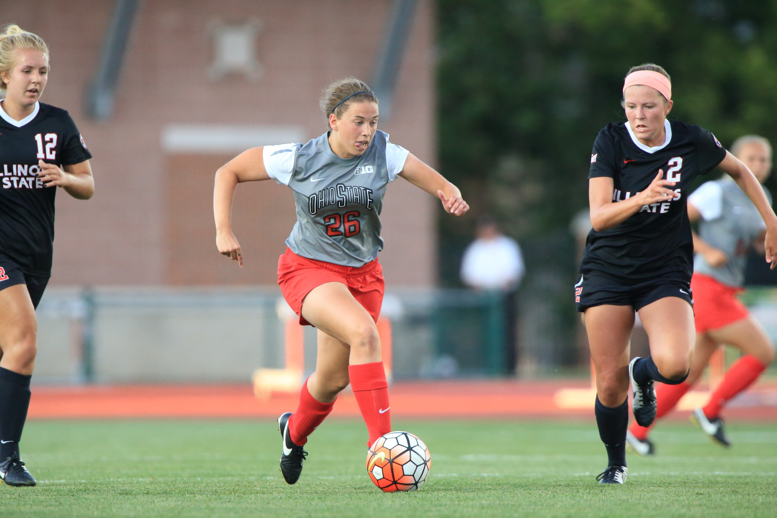 The Ohio State University women's Soccer team defeat Illinois State University 6-2 in their home opener for the 2015 season. Jesse Owens Memorial Stadium, Columbus, OH. August 21, 2015  Sydney Dudley (26)