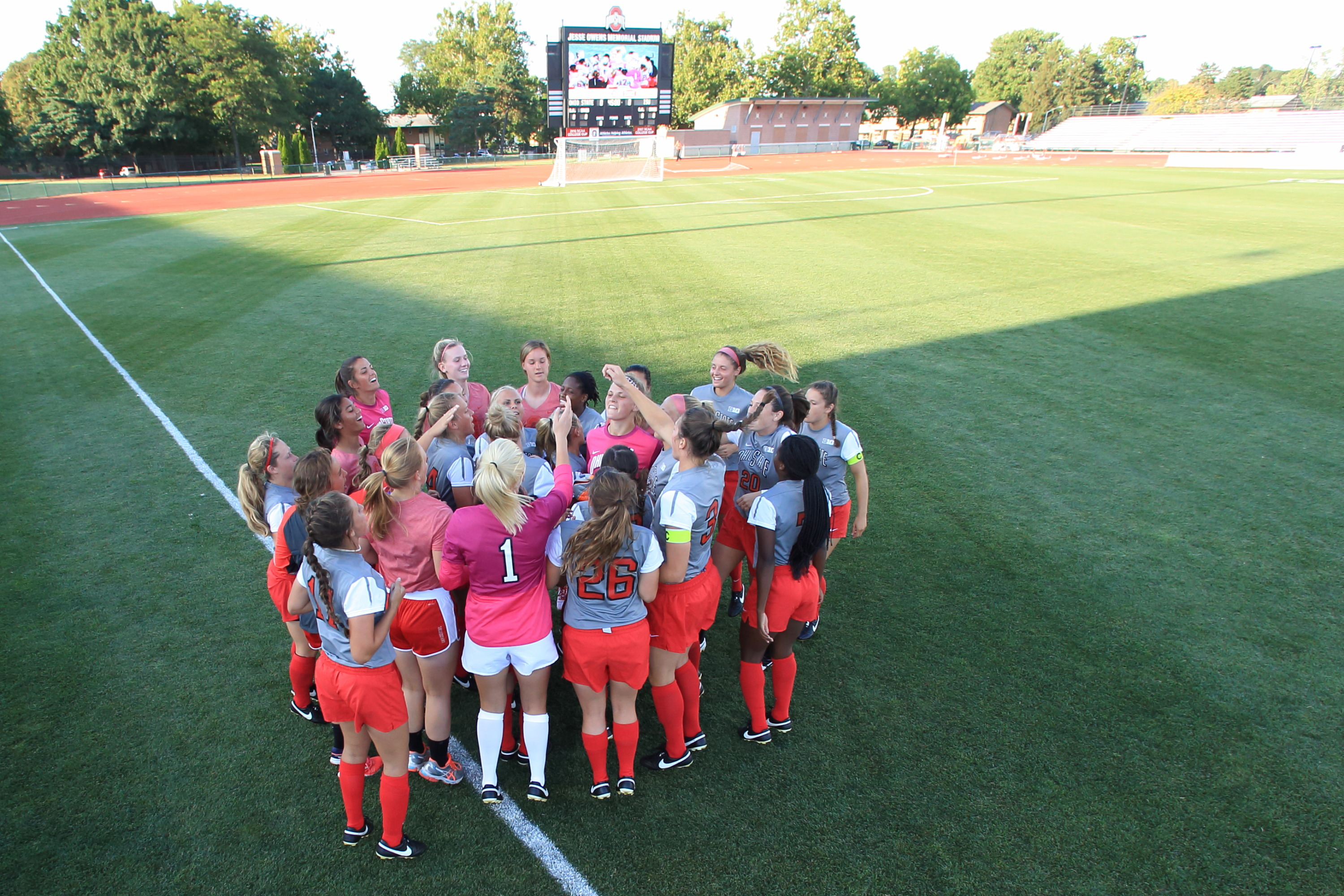 The Ohio State University women's Soccer team defeat Illinois State University 6-2 in their home opener for the 2015 season. Jesse Owens Memorial Stadium, Columbus, OH. August 21, 2015