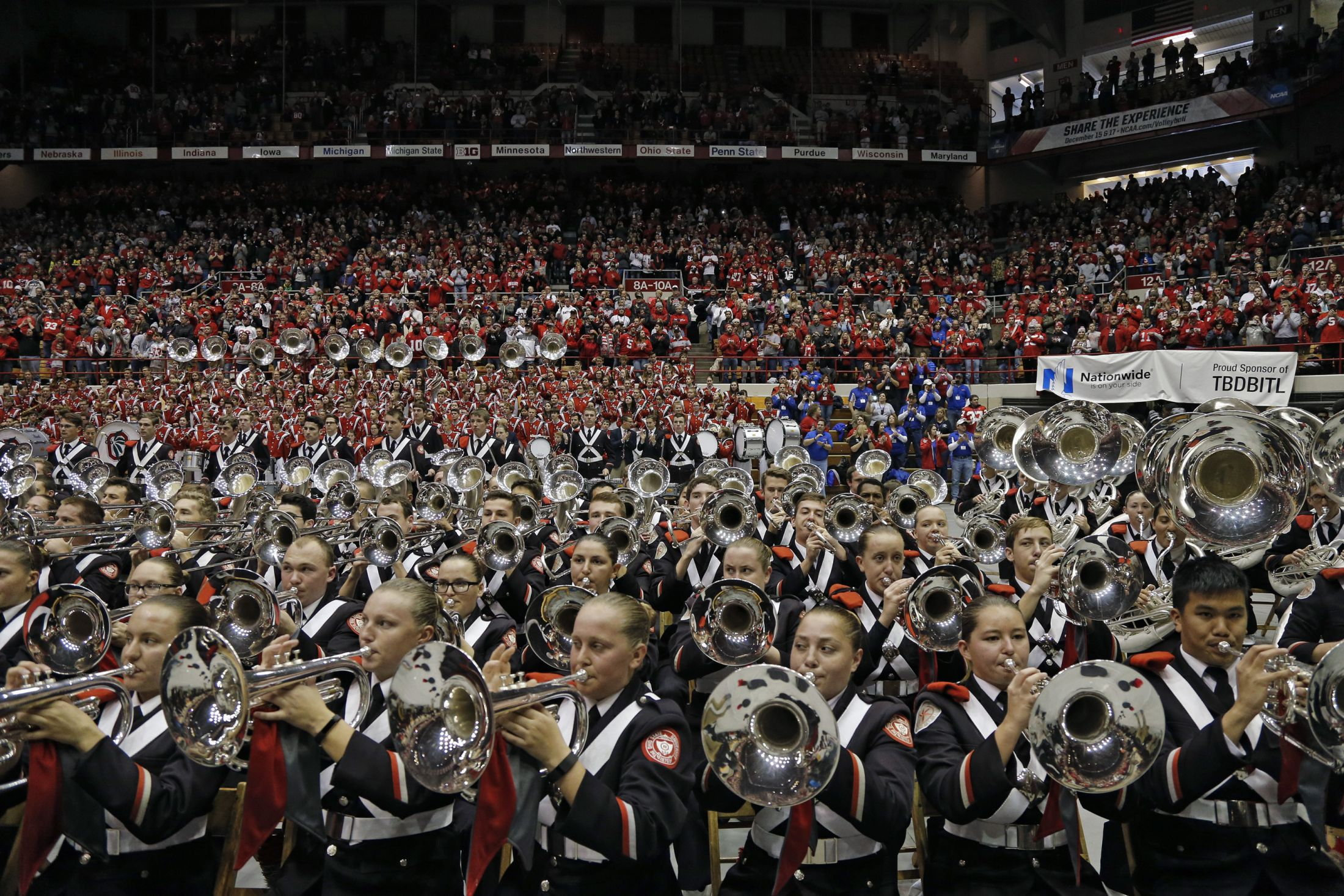 Ohio State Buckeyes marching band plays during the skull session at St. John Arena before the game against Michigan Wolverines in Columbus, Ohio on November 26, 2016.  (Kyle Robertson /  Columbus Dispatch)
