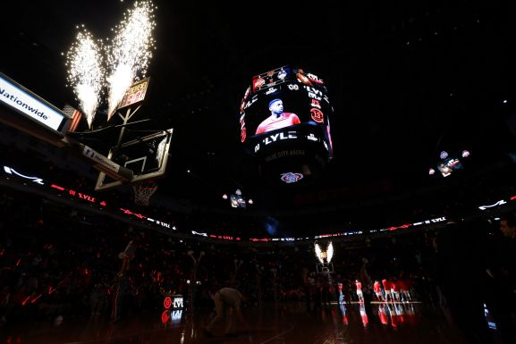 Dec 10, 2016; Columbus, OH, USA; Pyrotechnics are used during player introductions for the Ohio State Buckeyes prior to the game against the Connecticut Huskies at Value City Arena. Aaron Doster-USA TODAY Sports