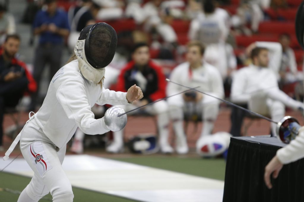 Ohio State fencing meet Sunday, Oct. 16, 2016, in Columbus, Ohio. (Photo/Jay LaPrete)  Natalia Falkowski
