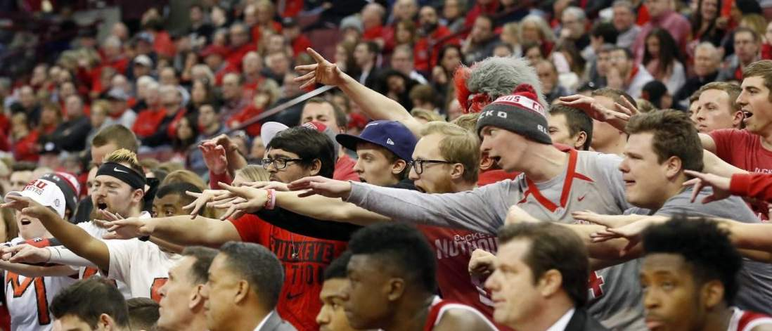 Mar 4, 2017; Columbus, OH, USA; Ohio State Buckeyes fans during the second half against the Indiana Hoosiers. Joe Maiorana-USA TODAY Sports