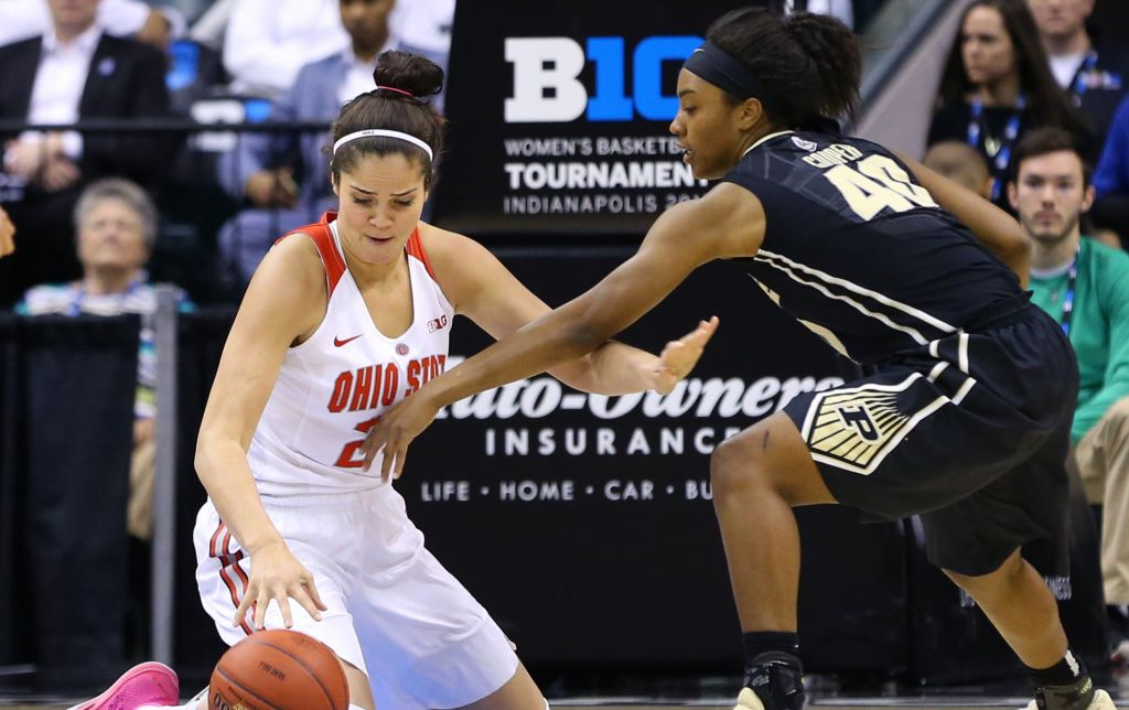 Mar 4, 2017; Indianapolis, IN, USA; Ohio State Buckeyes forward Makayla Waterman (24) plays the loose ball against Purdue Boilermakers guard Lamina Cooper (40). Aaron Doster-USA TODAY Sports