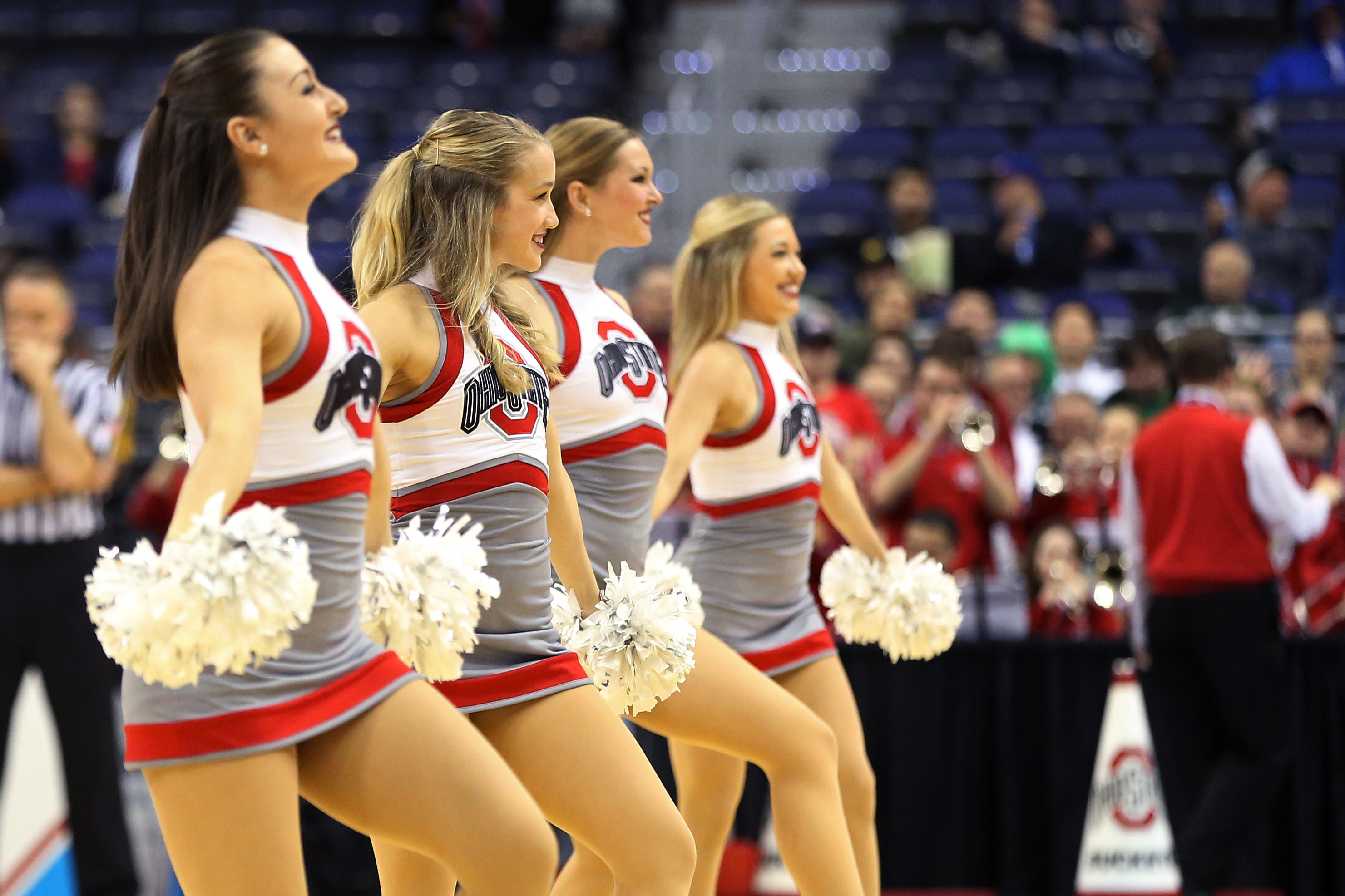 Members of the Ohio State Buckeyes dance team dance on the court during a timeout against the Rutgers Scarlet Knights in the second half during the Big Ten Conference Tournament at Verizon Center. The Scarlet Knights won 66-57. Geoff Burke-USA TODAY Sports