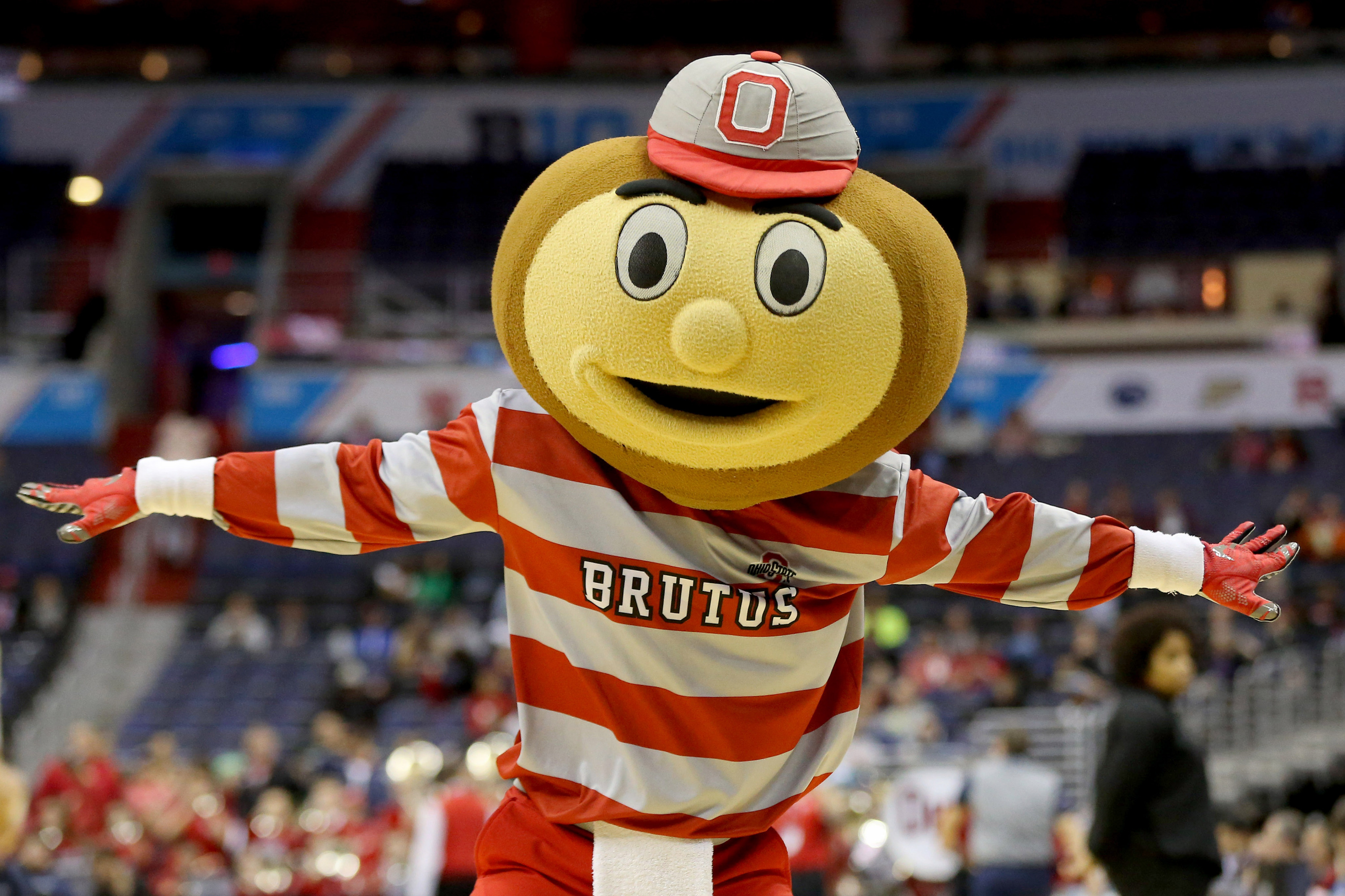 Ohio State Buckeyes mascot Brutus dances on the court during a timeout against the Rutgers Scarlet Knights in the second half during the Big Ten Conference Tournament at Verizon Center. The Scarlet Knights won 66-57.  Geoff Burke-USA TODAY Sports