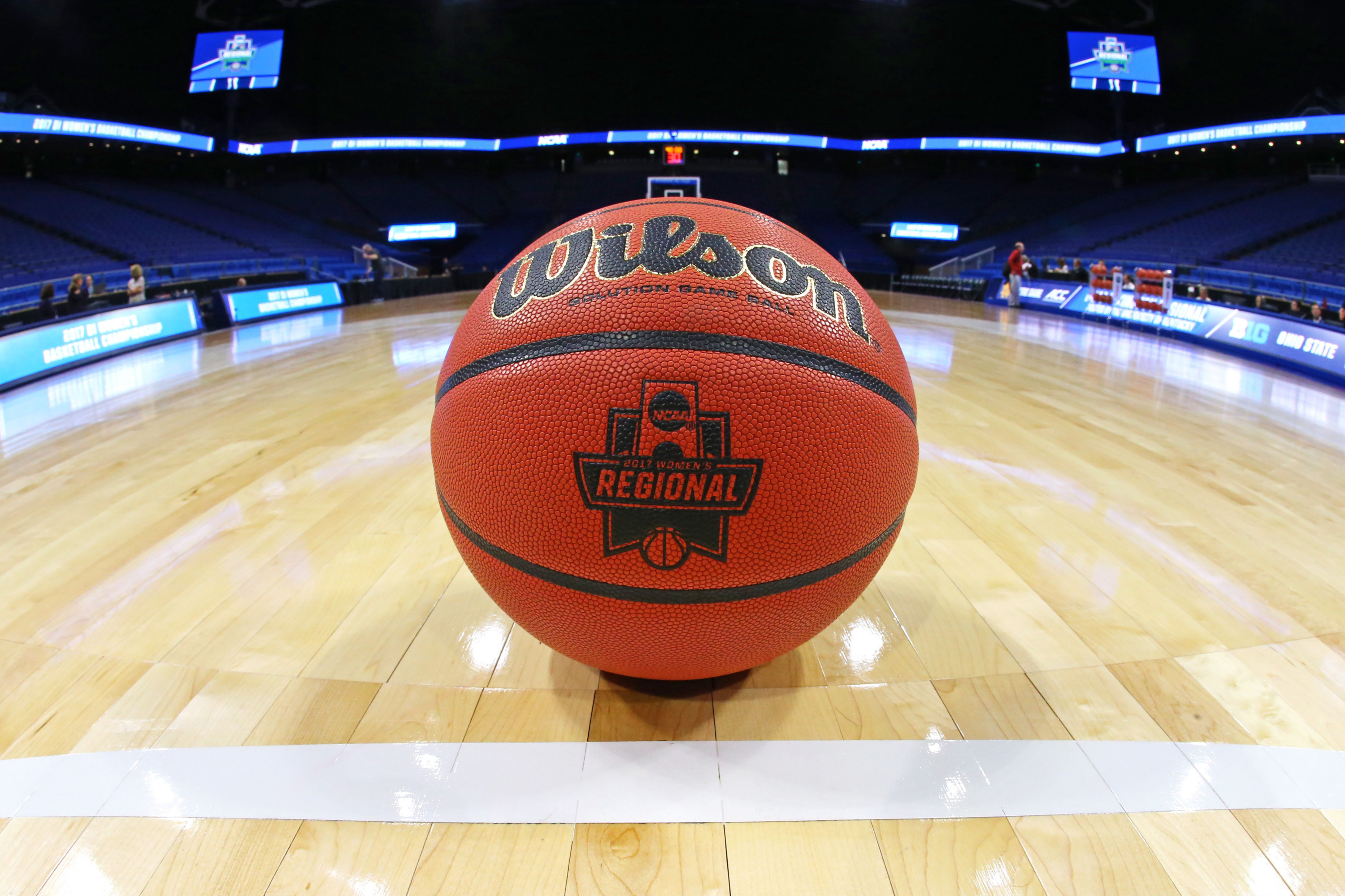 A view of the NCAA Women's Regional logo on an official Wilson basketball prior to the game of the Ohio State Buckeyes against the Notre Dame Fighting Irish in the semifinals of the Lexington Regional of the women's 2017 NCAA Tournament at Rupp Arena. (Aaron Doster-USA TODAY Sports)