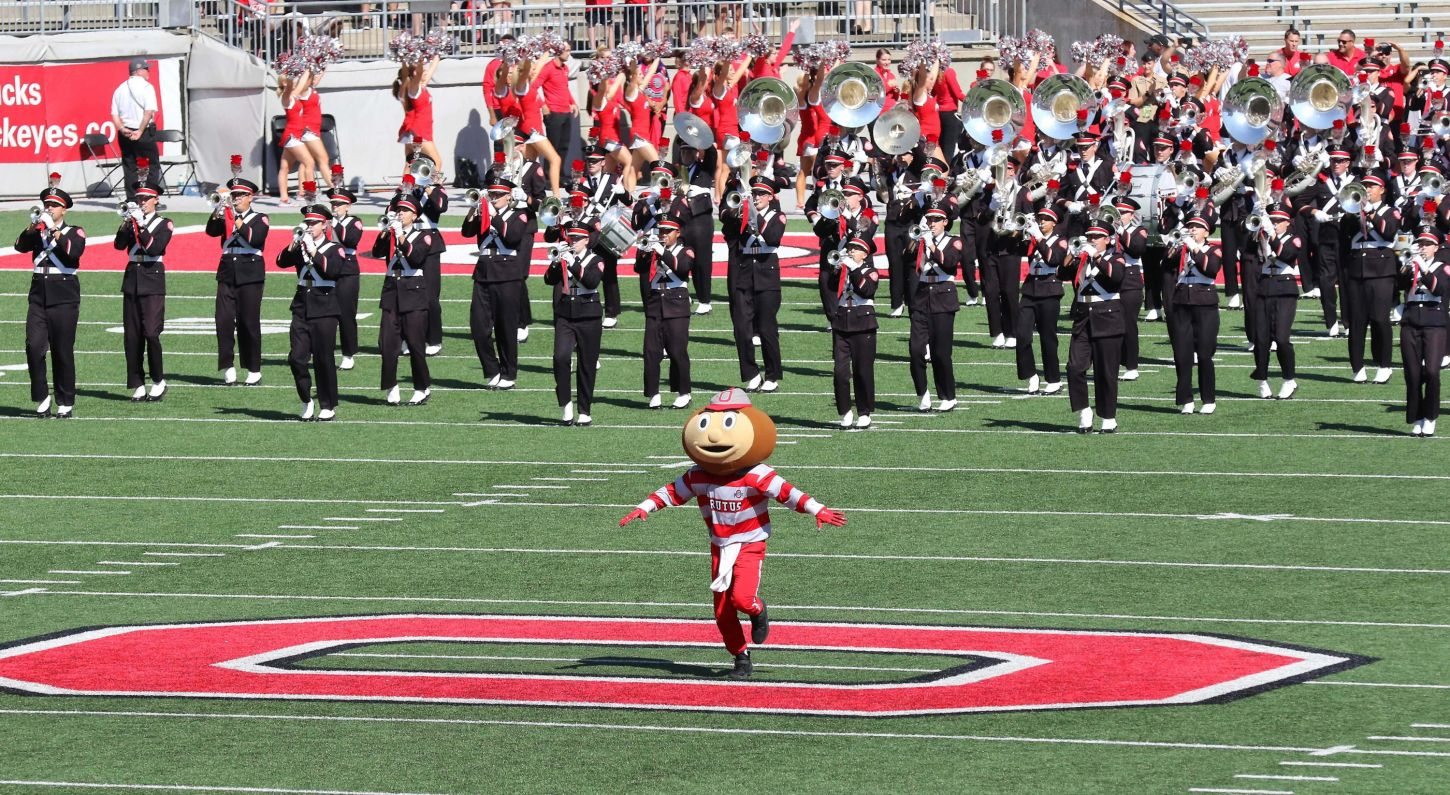 Sep 23, 2017; Columbus, OH, USA; Brutus Buckeye before the game against the UNLV Rebels at Ohio Stadium. Ohio State won 54-21. Mandatory Credit: Joe Maiorana-USA TODAY Sports