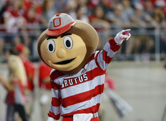 Oct 7, 2017; Columbus, OH, USA; Brutus Buckeye during the second half against the Maryland Terrapins at Ohio Stadium. The Buckeyes won 62-14. Mandatory Credit: Joe Maiorana-USA TODAY Sports