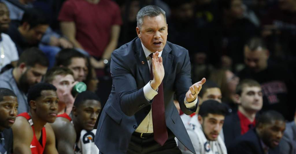 Jan 14, 2018; Piscataway, NJ, USA;  Ohio State Buckeyes head coach Chris Holtmann reacts to play on the floor during first half against Rutgers Scarlet Knights at Louis Brown Athletic Center. Mandatory Credit: Noah K. Murray-USA TODAY Sports