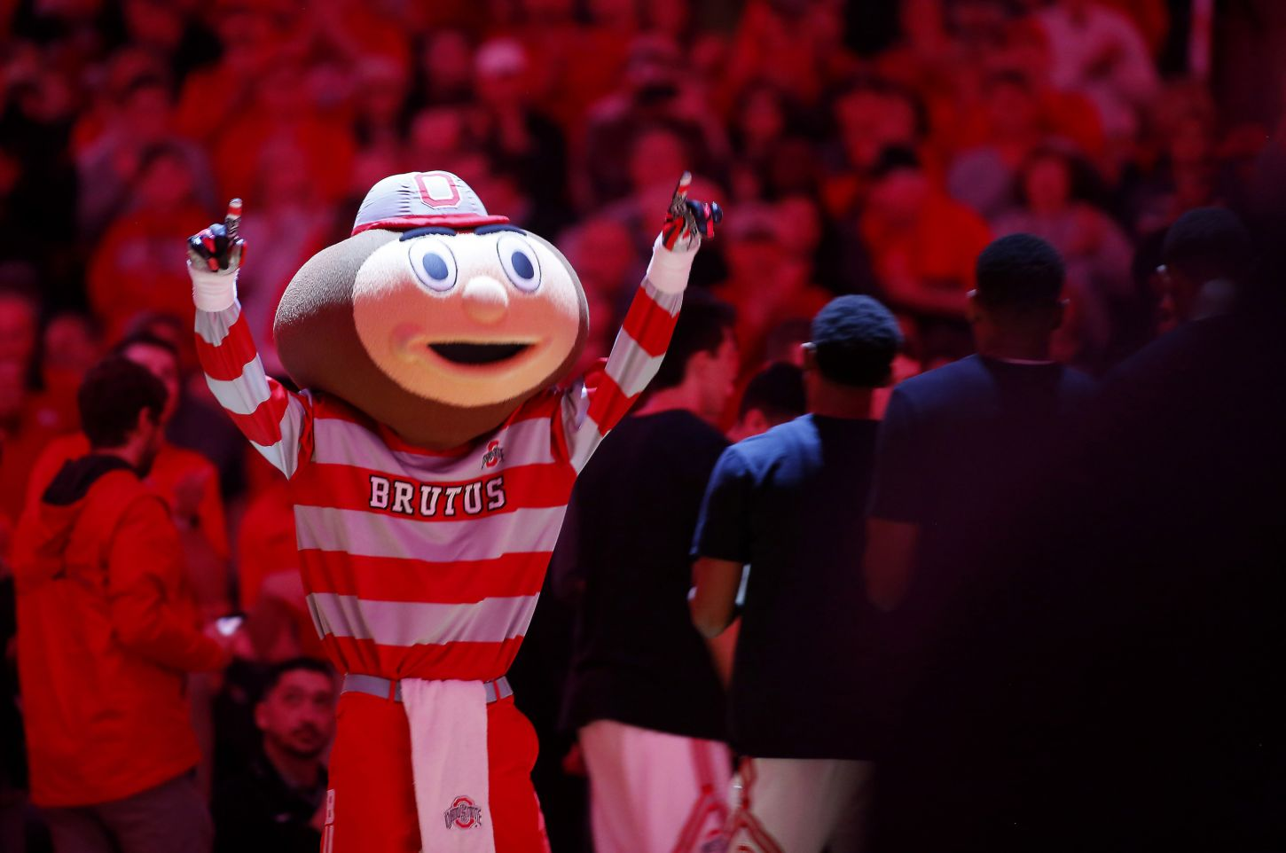 Feb 10, 2018; Columbus, OH, USA; Ohio State Buckeyes Brutus Buckeye before the game against the Iowa Hawkeyes at Value City Arena. Joe Maiorana-USA TODAY Sports.