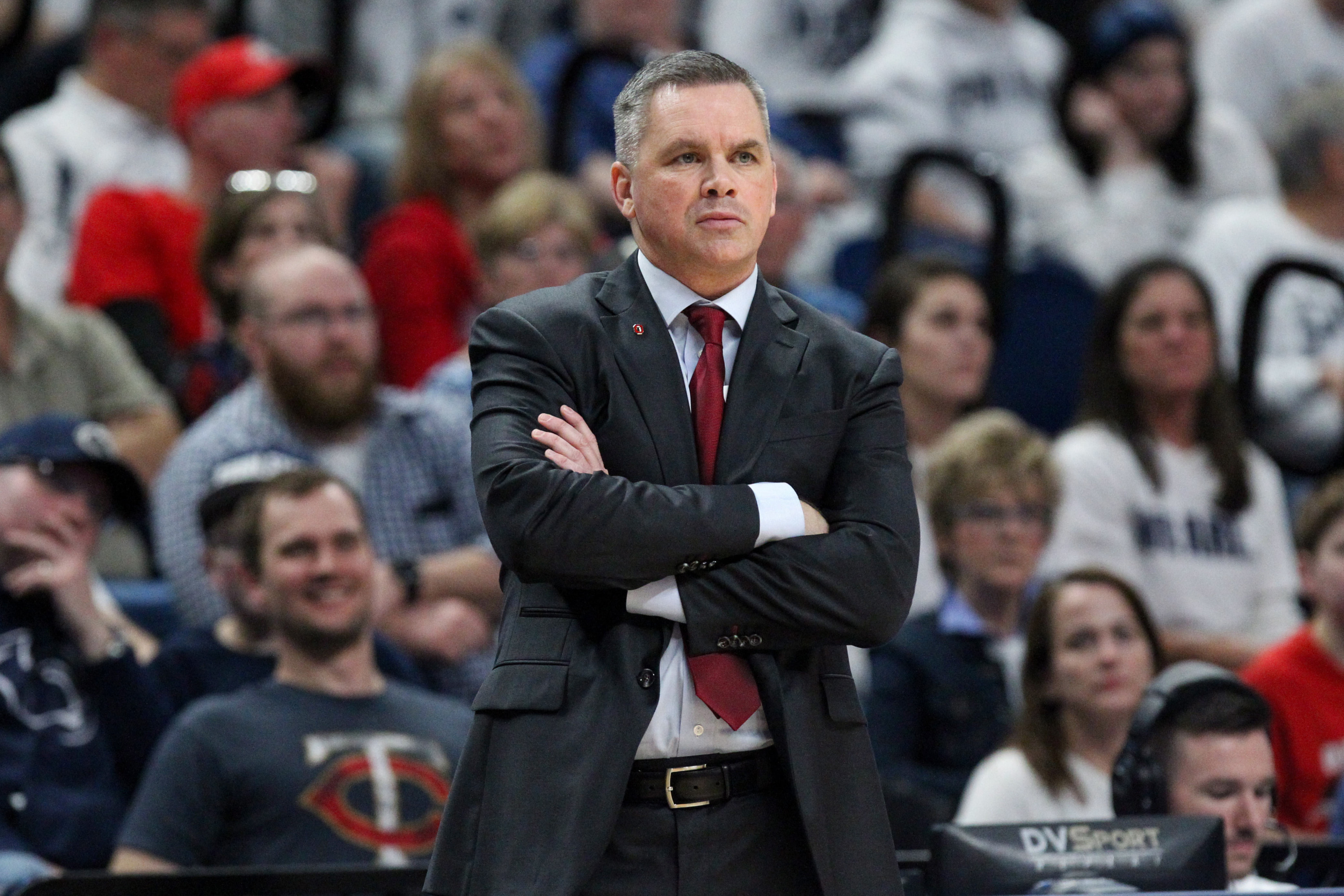 Feb 15, 2018; University Park, PA, USA; Ohio State Buckeyes head coach Chris Holtmann looks on from the bench during the first half against the Penn State Nittany Lions at Bryce Jordan Center. Penn State defeated Ohio State 79-56. Mandatory Credit: Matthew O'Haren-USA TODAY Sports