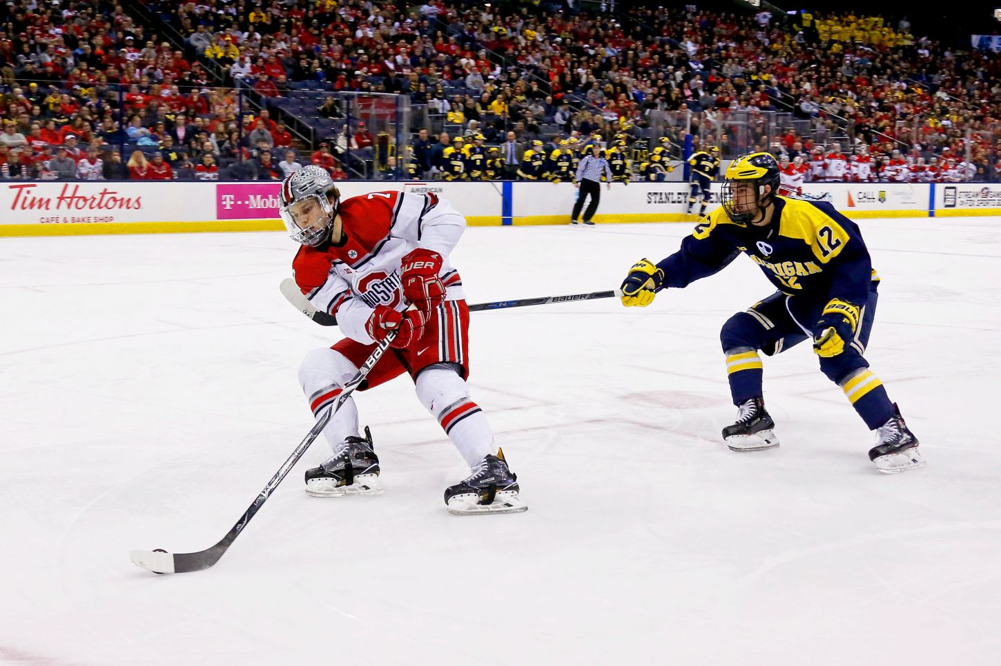Ohio State plays Michigan in the Big 10 Hockey  Semifinals on Saturday, March 10, 2018 at Nationwide Arena in Columbus, Ohio.