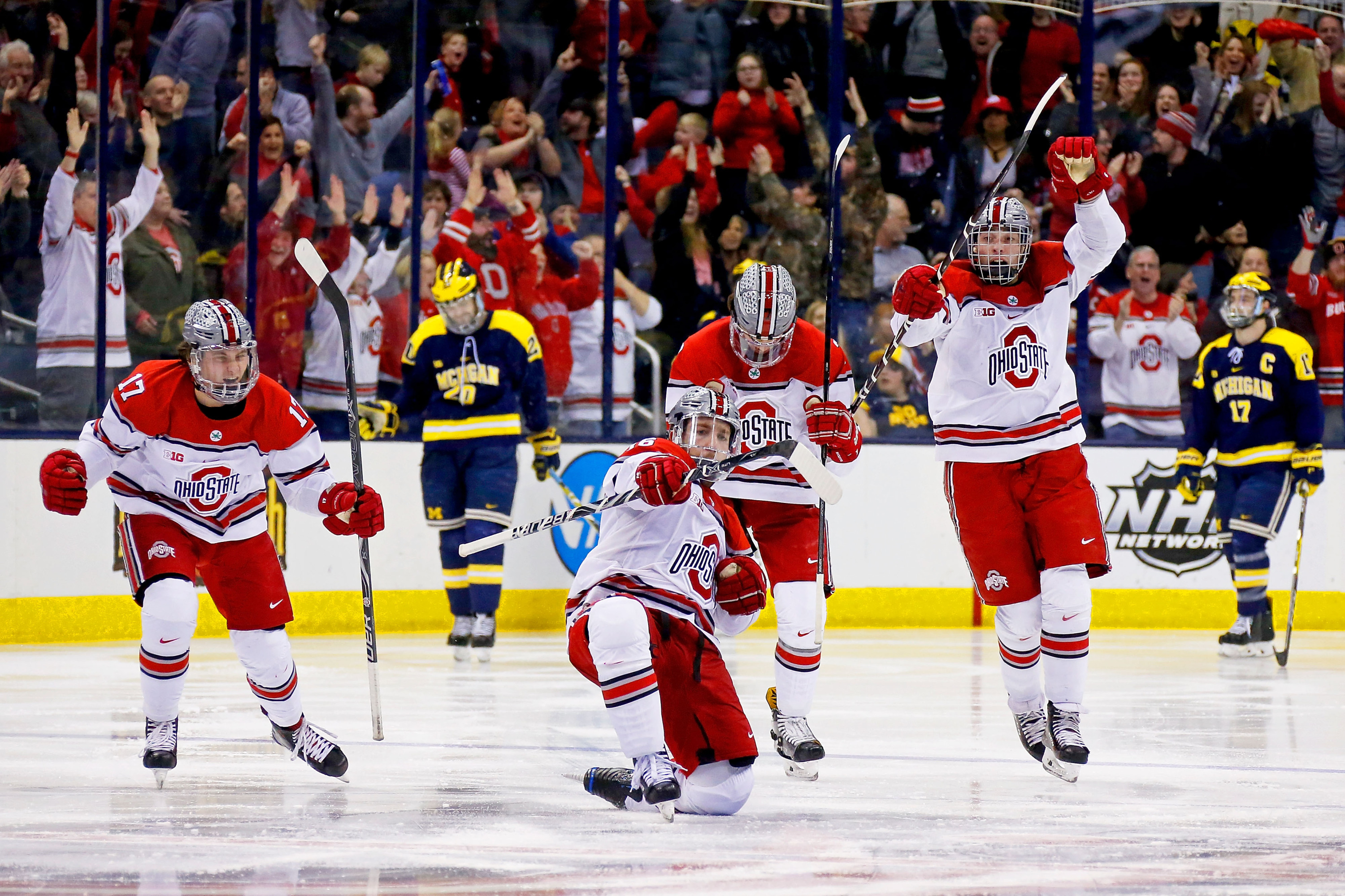 Ohio State plays Michigan in the Big 10 Hockey  Semifinals on Saturday, March 10, 2018 at Nationwide Arena in Columbus, Ohio. Ohio State defeated Michigan 3-2 in overtime.