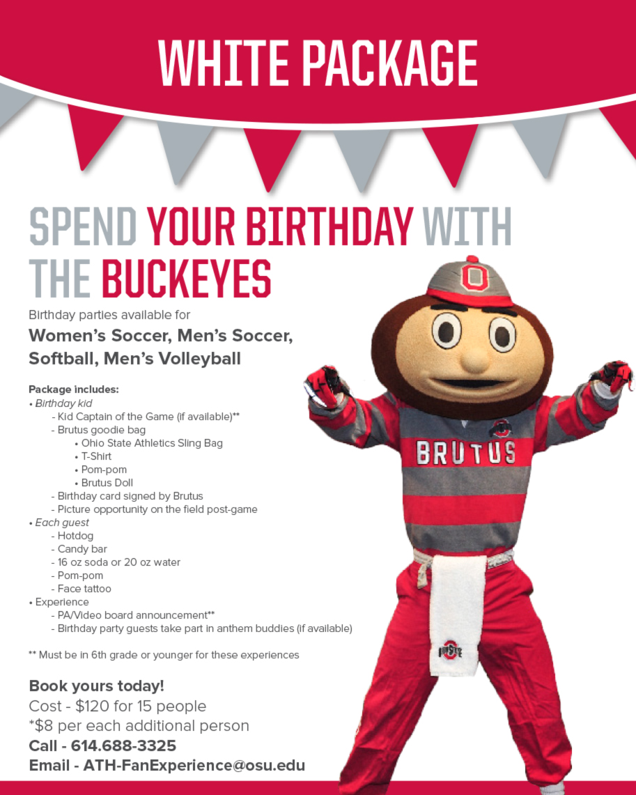 Birthday Parties Ohio State Buckeyes