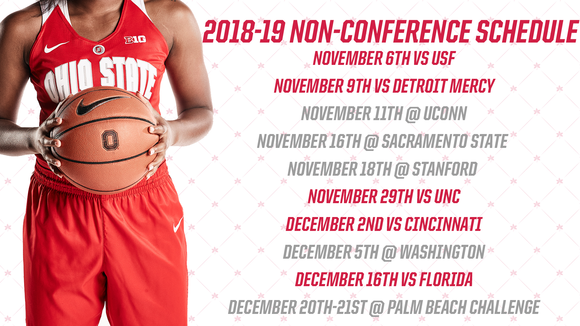 picture relating to Unc Basketball Schedule Printable titled Buckeyes Announce 2018-19 Non-Convention Agenda Ohio