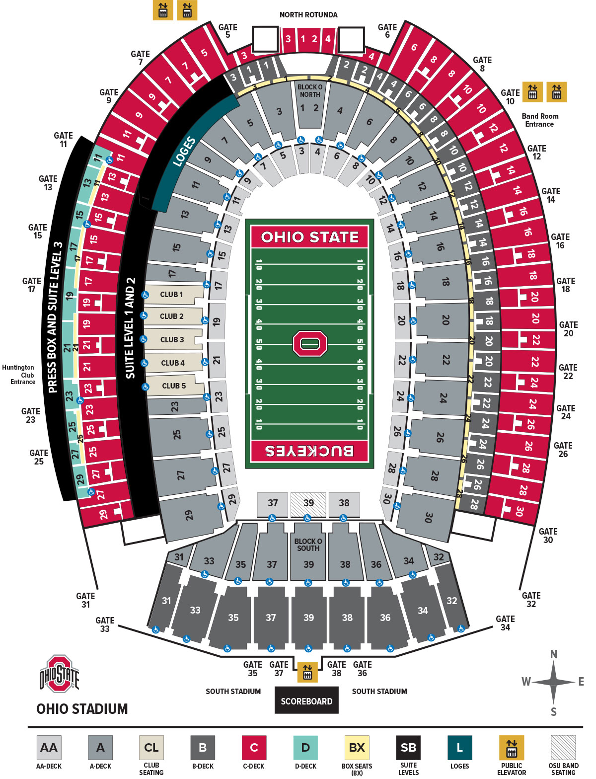 Ohio stadium seating chart ohio state buckeyes